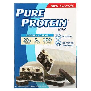 Pure Protein, Protein Bars, Cookies & Cream, 6 Bars, 1.76 oz (50 g) Each