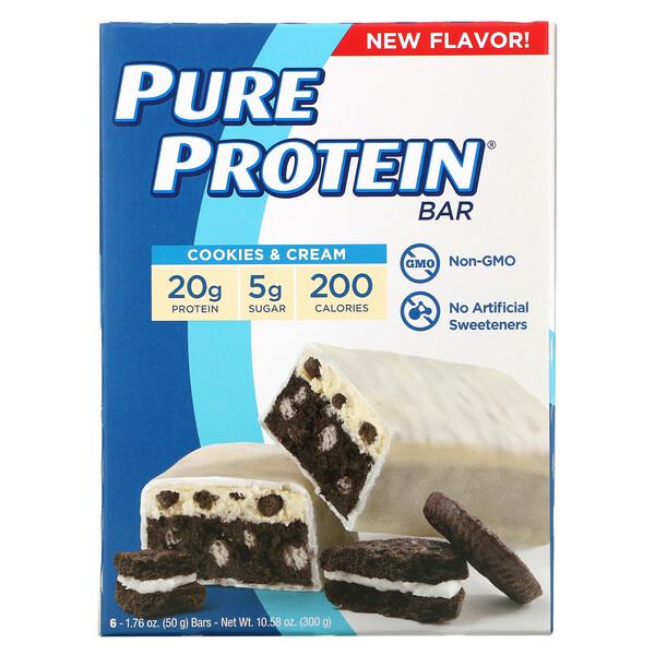 Protein Bars, Cookies & Cream, 6 Bars, 1.76 oz (50 g) Each