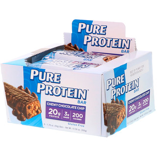 Pure Protein, Chew Chocolate Chip Bar, 6 Bars, 1.76 oz (50 g) Each