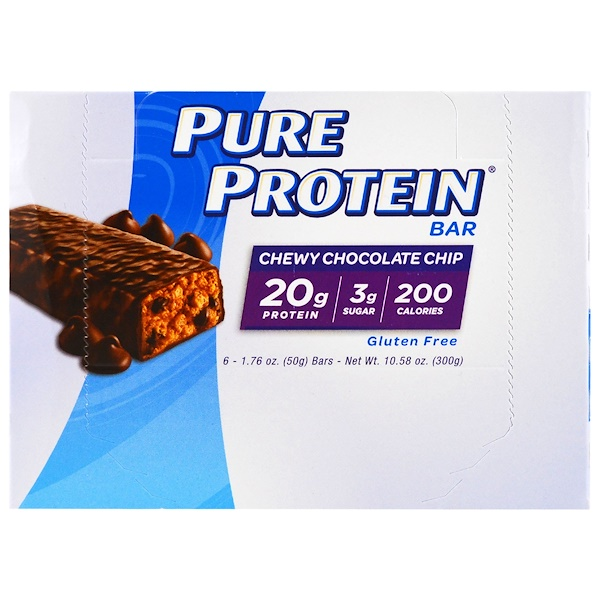 Pure Protein, Chew Chocolate Chip Bar, 6 Bars, 1.76 oz (50 g) Each