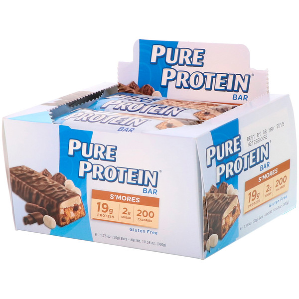 Pure Protein, S'mores Bar, 6 Bars, 1.76 oz (50 g) Each (Discontinued Item)