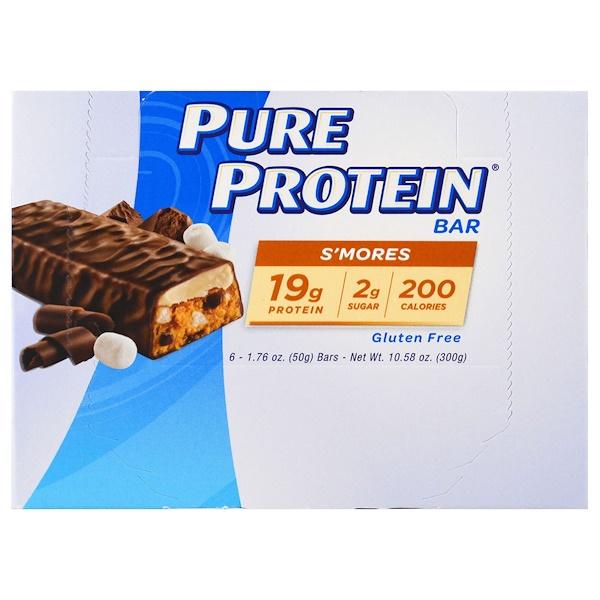 Pure Protein, 營養條, S'mores,6條,每條1、76盎司(50克)