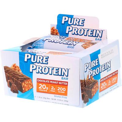 Фото - шоколадный батончик с арахисовым маслом, 6 батончиков, весом 50 г (1,76 унции) каждый premium nutrition bars хрустящие ириски с арахисовым маслом 15 батончиков по 2 унции 57 г каждый