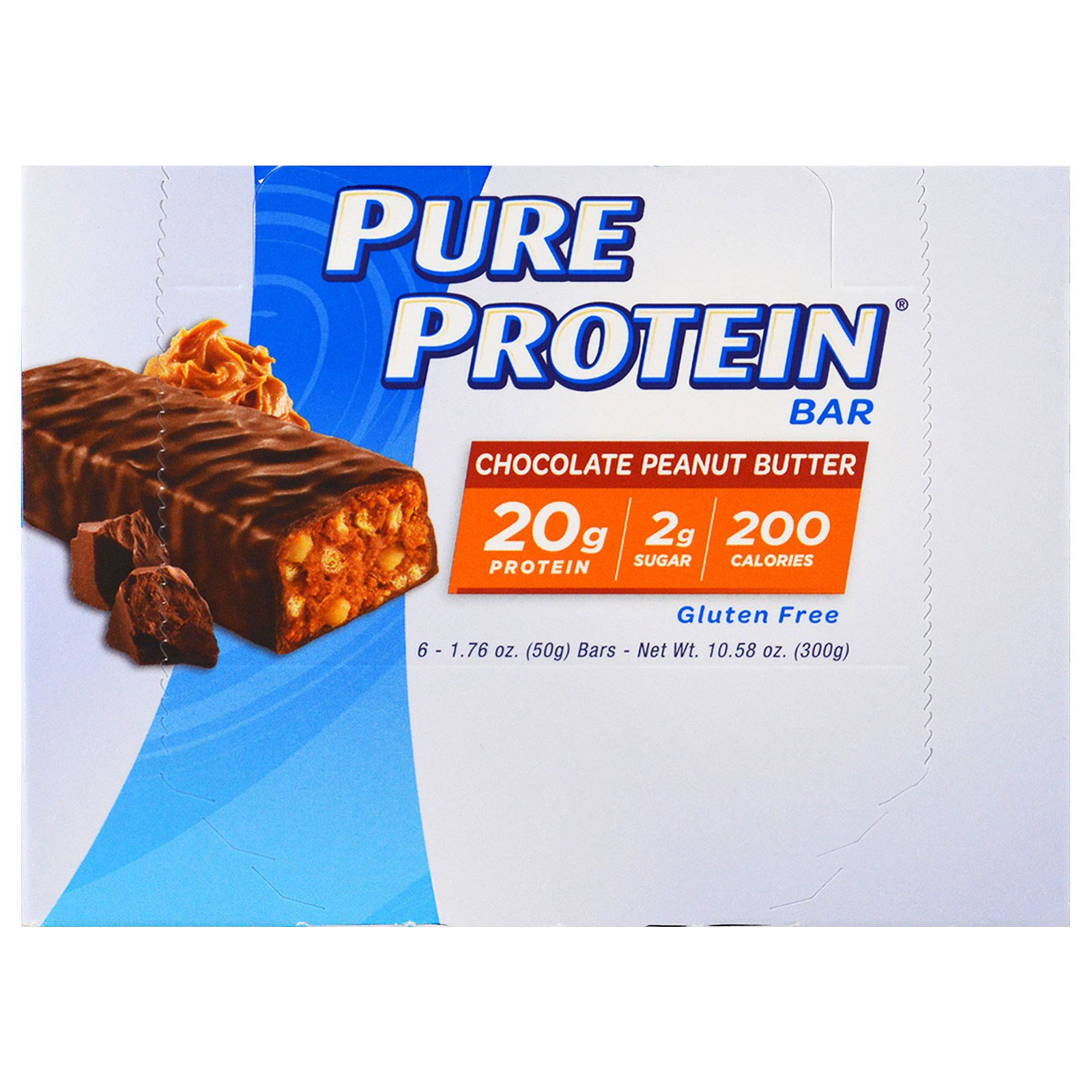 Pure Protein, Батончик, шоколадное арахисовое масло, 6 батончиков, 50 г (1,76 унций) каждый