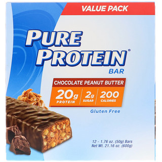 Pure Protein, Chocolate Peanut Butter Bar, 12 Bars, 1.76 oz (50 g) Each