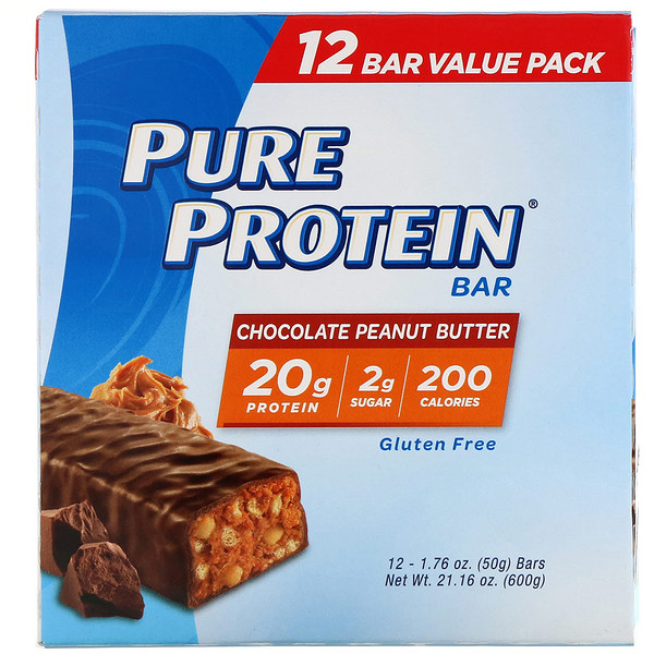Pure Protein, Pure Protein Bar, Chocolate Peanut Butter, 12 bars, 1.76 oz (50 g) Each