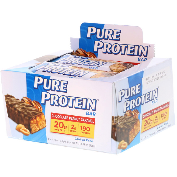 Pure Protein, Chocolate Peanut Caramel Bars, 6 Bars, 1.76 oz (50 g) Each