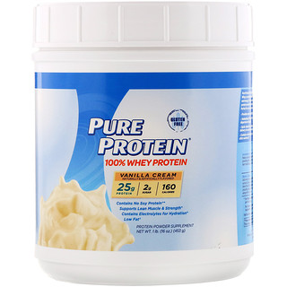 Pure Protein, 100% Whey Protein, Vanilla Cream, 1 lb (453 g)