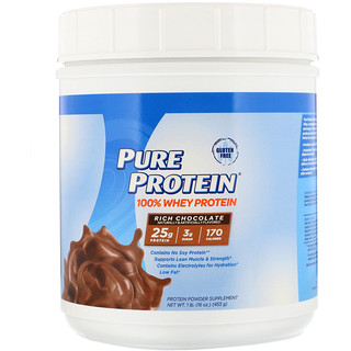 Pure Protein, 100% Whey Protein, Rich Chocolate, 1 lb (453 g)