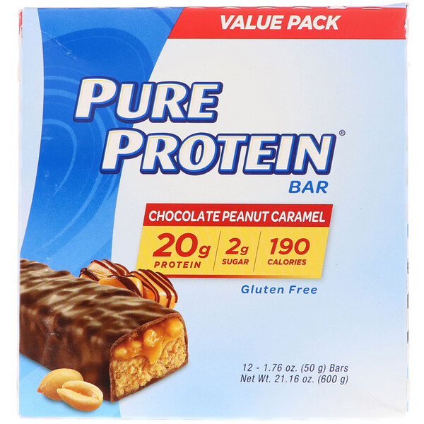 Pure Protein Bar, Chocolate Peanut Caramel, 12 Bars, 1.76 oz (50 g)