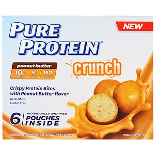 Pure Protein, Crunch, Peanut Butter Bites, 6 Individually Wrapped Pouches, 1.20 oz (34 g) Each