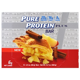 Pure Protein, Plus Bar, Apple Pie, 6 Bars, 2.11 oz (60 g) Each