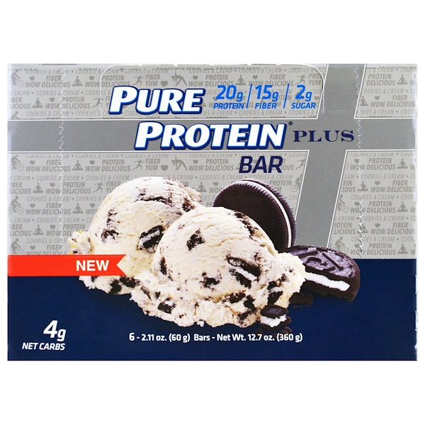 Pure Protein, Plus Bar, Cookies & Cream, 6 Bars, 2.11 oz (60 g) Each (Discontinued Item)