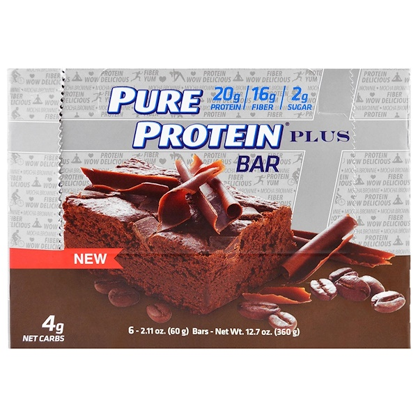 Pure Protein, Plus Bar, Mocha Brownie, 6 Bars, 2.11 oz (60 g) (Discontinued Item)
