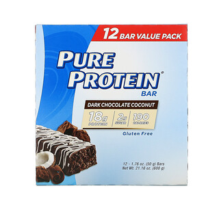 Pure Protein, Dark Chocolate Coconut Bar, 12 Bars, 1.76 oz (50 g) Each