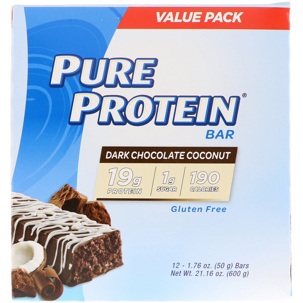 Pure Protein Bar, Dark Chocolate Coconut, 12 Bars, 1.76 oz (50 g) Each