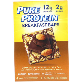 Pure Protein, Breakfast Bars, Chocolate Almond Oatmeal, 4 Bars, 1.76 oz (50 g) Each