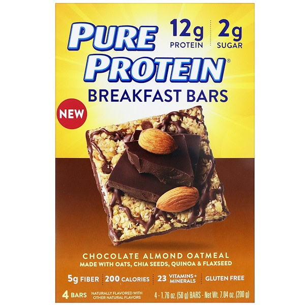 Pure Protein, 早餐條,巧克力杏仁燕麥,4條,每條1、76盎司(50克)