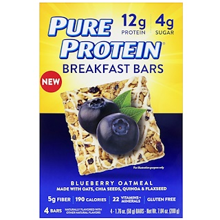 Pure Protein, Breakfast Bars, Blueberry Oatmeal, 4 Bars, 1.76 oz (50 g) Each