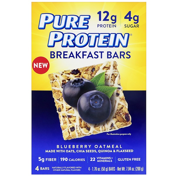 Pure Protein, ブレックファーストバー、ブルーベリーオートミール、4本、各1.76オンス (50 g) (Discontinued Item)