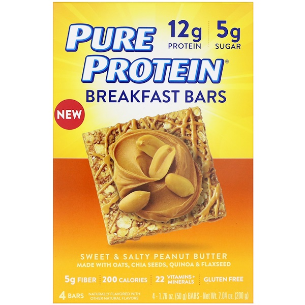 Pure Protein, Breakfast Bars, Sweet & Salty Peanut Butter, 4 Bars, 1.76 oz (50 g) Each