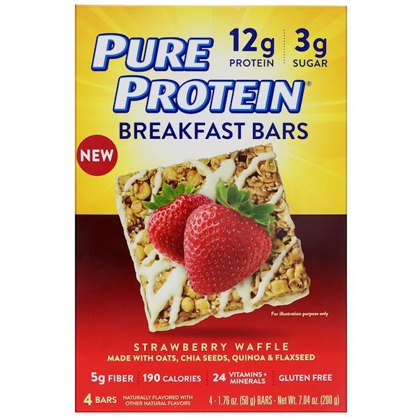 Pure Protein, Батончики для завтрака, клубника и вафля, 4 батончика, по 50 г каждый (Discontinued Item)