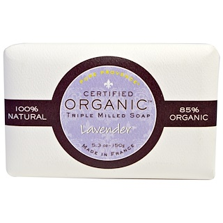 Pure Provence Organic, Certified Organic Triple Milled Soap, Lavender, 5.3 oz (150 g)