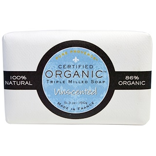 Pure Provence Organic, Certified Organic Triple Milled Soap, Unscented, 5.3 oz (150 g)