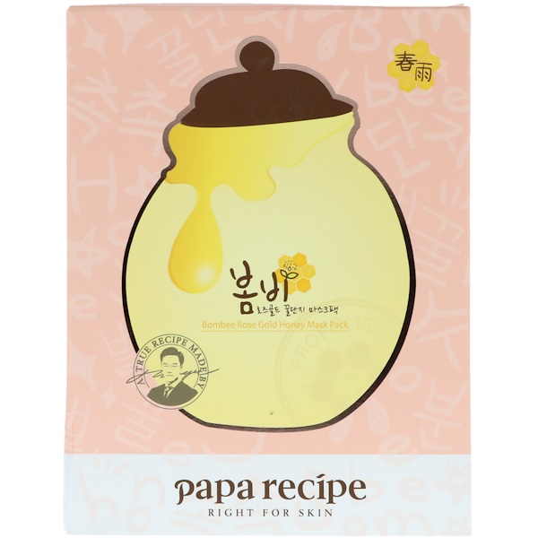 Papa Recipe, Bombee Rose Gold Honey Mask Pack, 5 Sheets, 25 ml Each (Discontinued Item)