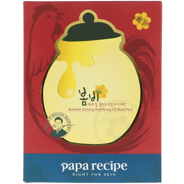 Papa Recipe, Bombee Ginseng Red Honey Oil Mask Pack, 10 Sheets, 20 g Each (Discontinued Item)