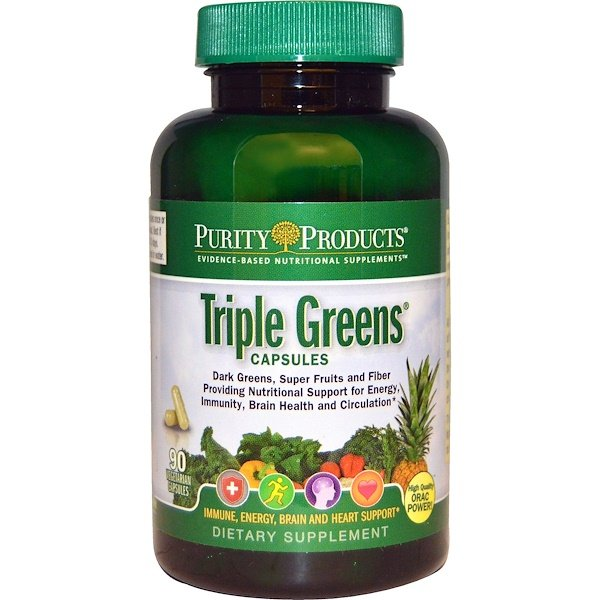 Purity Products, Triple Greens Capsules, 90 Veggie Caps (Discontinued Item)