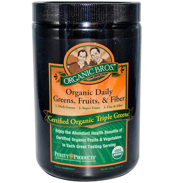 Purity Products, Organic Bros, Organic Daily Greens, Fruits & Fiber, 10.58 oz (300 g) (Discontinued Item)