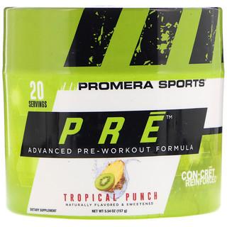 Promera Sports, PRE, fórmula avanzada preentrenamiento, ponche tropical, 5.54 oz (157 g)
