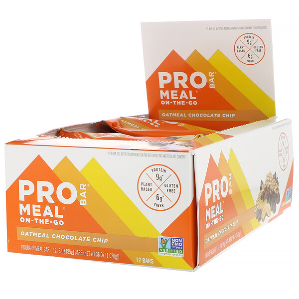 ProBar, Meal-On-The-Go, Oatmeal Chocolate Chip, 12 Bars, 3 oz (85 g) Each (Discontinued Item)