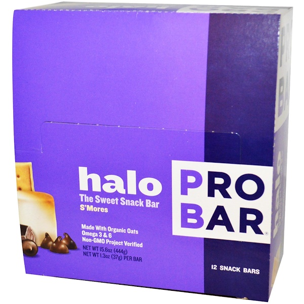 ProBar, Halo, The Sweet Snack Bar, S'Mores, 12 Bars, 1.3 oz (37 g) Each (Discontinued Item)