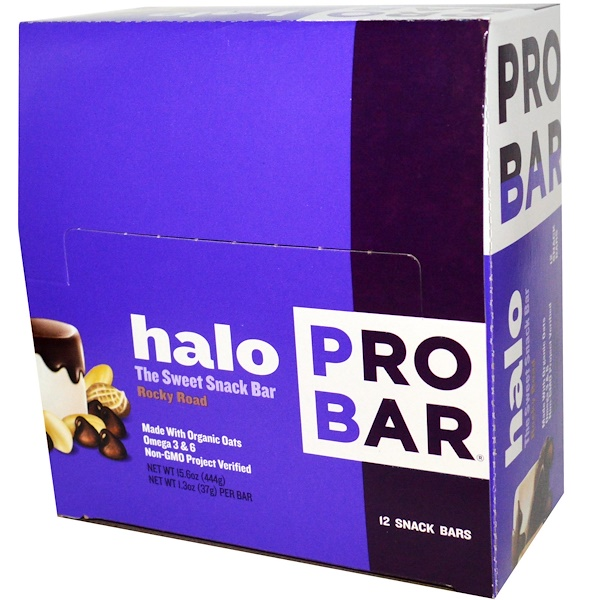ProBar, Halo, Rocky Road, 12 Snack Bars 1.3 oz (37 g) Each (Discontinued Item)