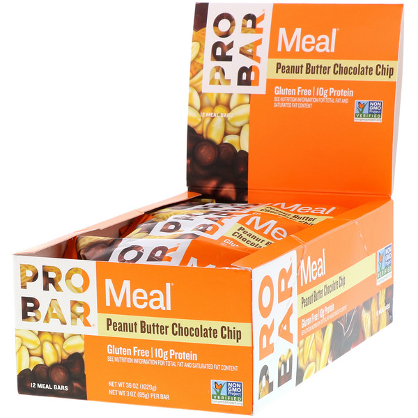 ProBar, Pro Bar, Meal, Peanut Butter Chocolate Chip, 12 Bars, 3 oz (85 g) Each