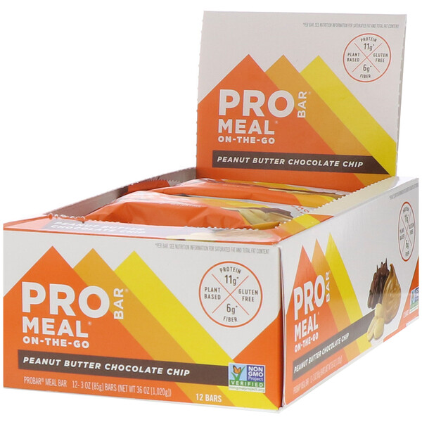 ProBar, Protein Bar, Meal, Peanut Butter Chocolate Chip, 12 Bars, 3 oz (85 g) Each