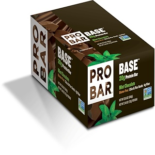 ProBar, Base, 20 g Protein Bar, Mint Chocolate, 12 Bars, 2.46 oz (70 g) Each
