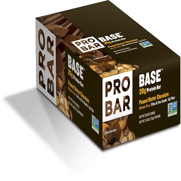 ProBar, Base, 20 g Protein Bar, Peanut Butter Chocolate, 12 Bars, 2、46 oz (70 g) Each