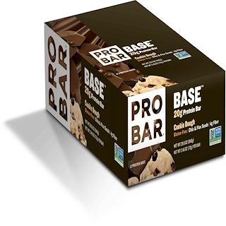 ProBar, Base, 20 g Protein Bar, Cookie Dough, 12 Bars, 2.46 oz (70 g) Each