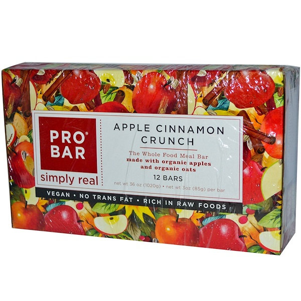 ProBar, Apple Cinnamon Crunch, 12 Bars, 3 oz (85 g) Each (Discontinued Item)
