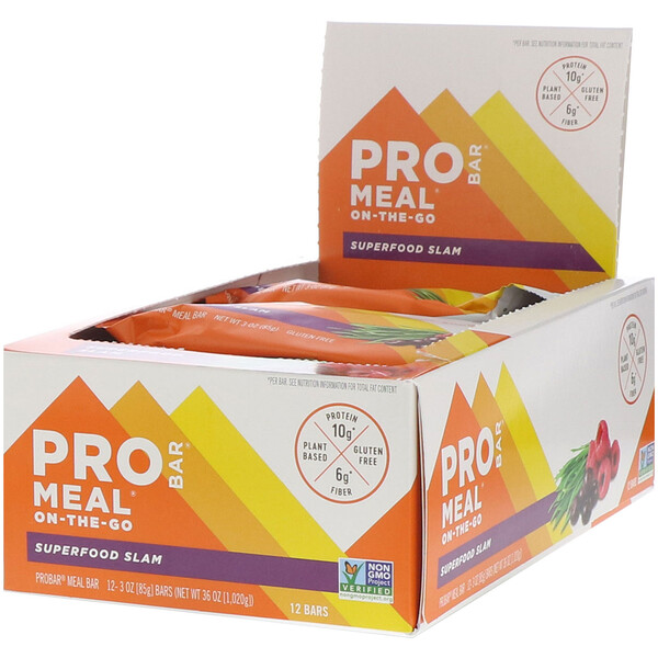 ProBar, Pro Bar, Meal, Superfood Slam, 12 Barrinhas, 85 g (3 oz) Cada