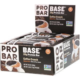 ProBar, Base, Protein Bar, Coffee Crunch, 12 Bars, 2.46 oz (70 g) Each