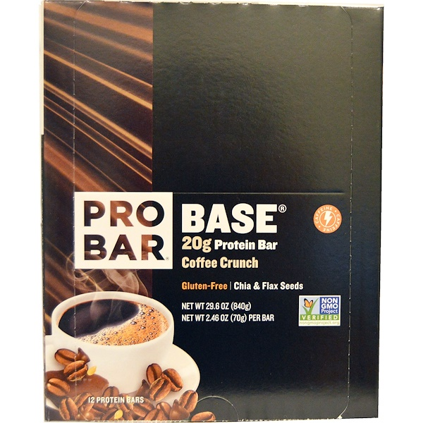 :ProBar, Base, Protein Bar, Coffee Crunch, 12 - 2、46 oz (70 g) Each