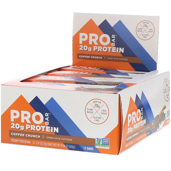 ProBar, Protein Bar, Coffee Crunch, 12 Bars, 2.47 oz (70 g) Each