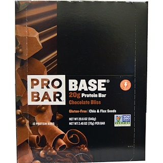 ProBar, Base, Protein Bar, Chocolate Bliss, 12 - 2.46 oz (70 g) Each