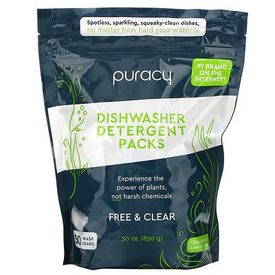 Купить Puracy Dishwasher Detergent Packs, Free & Clear, 50 Wash Loads, 30 oz (850 g)