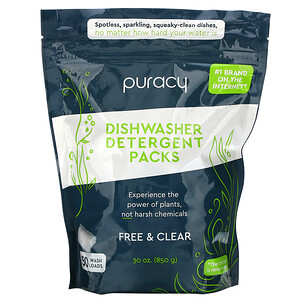 Puracy, Dishwasher Detergent Packs, Free & Clear, 50 Wash Loads, 30 oz (850 g)'