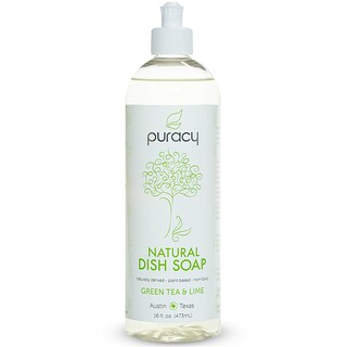 Puracy, Natural Dish Soap, Green Tea & Lime, 16 fl oz (473 ml)